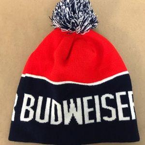 Budweiser Winter Hat Red Blue Pom Pom